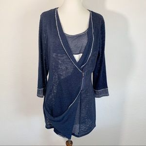 COCO BIANCO Navy Blue 3/4 Sleeve Knit Sweater Top